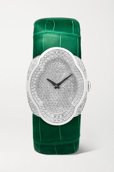 Buccellati - Opera 28mm 18-karat White Gold, Alligator And Diamond Watch