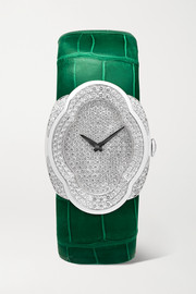 Buccellati Opera 28mm 18-karat white gold, alligator and diamond watch