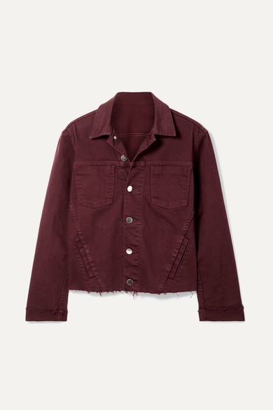 Janelle Slim Cropped Jean Jacket With Raw Hem in Burgundy from L'AGENCE