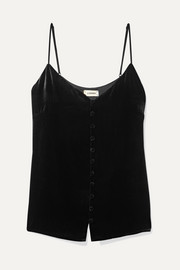 L'Agence Emiliana button-detailed velvet camisole