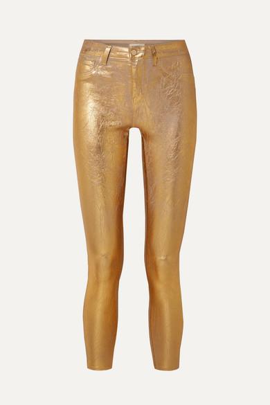Margot Metallic Coated High-Rise Skinny Jeans