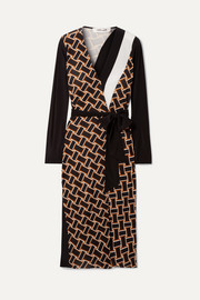 Maureen printed silk-jersey and silk crepe de chine wrap dress