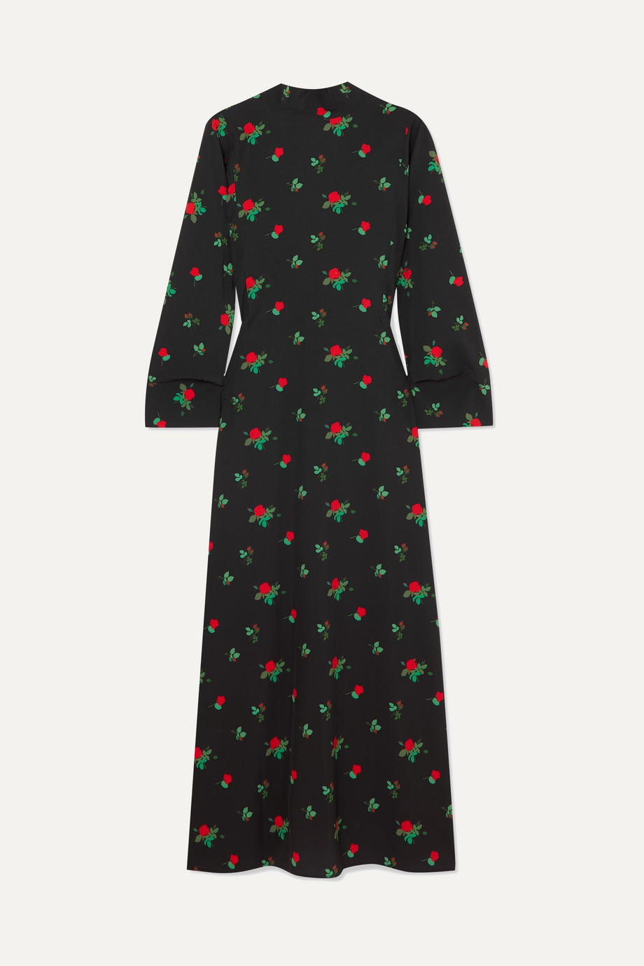BERNADETTE Open-back floral-print crepe de chine maxi dress