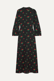 BERNADETTE Open-back floral-print crepe de chine maxi dress