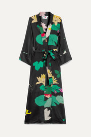 BERNADETTE Floral-print silk crepe de chine wrap midi dress
