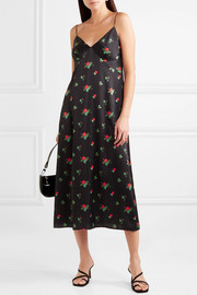 Floral-print stretch-silk satin midi dress