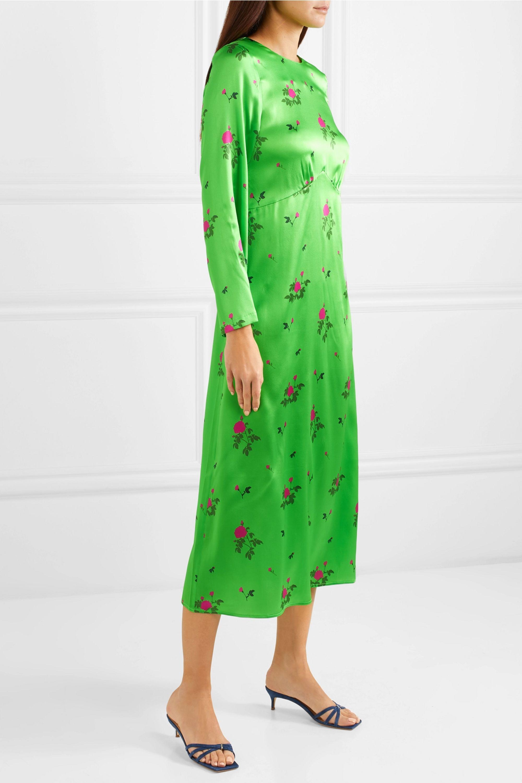 BERNADETTE Neon floral-print silk-blend satin midi dress