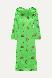 BERNADETTE Neon floral-print silk-blend satin midi dress