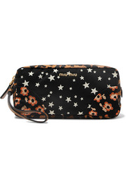 Miu Miu Leather-trimmed printed canvas cosmetics case