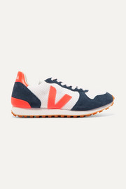Veja Holiday Rec neon rubber and leather-trimmed mesh and suede sneakers