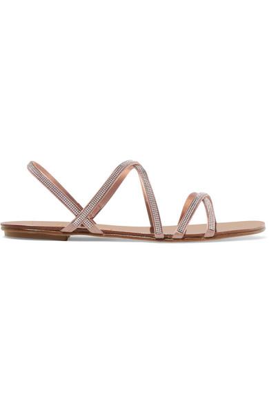 PEDRO GARCIA | Pedro Garcia - Sarabel Swarovski Crystal-embellished Satin Sandals - Beige | Goxip