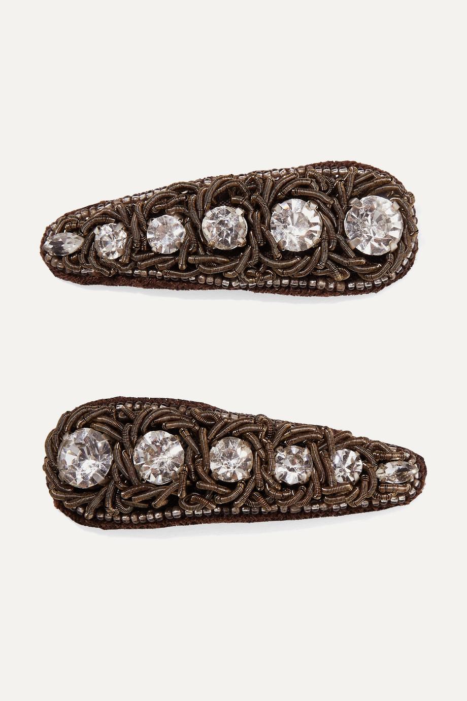 Ranjana Khan 帆布、水晶、铜色发夹(两只装)