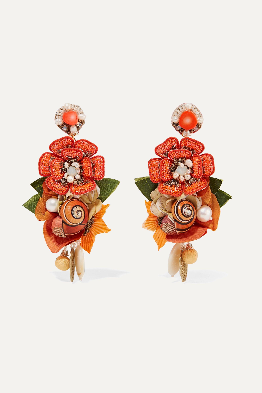 Ranjana Khan Helios gold-tone and silk multi-stone clip earrings
