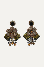 Cascade gold-tone, velvet and crystal clip earrings