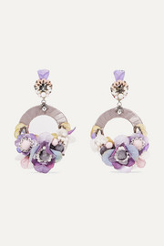 Ayla silver-tone, silk and crystal clip earrings