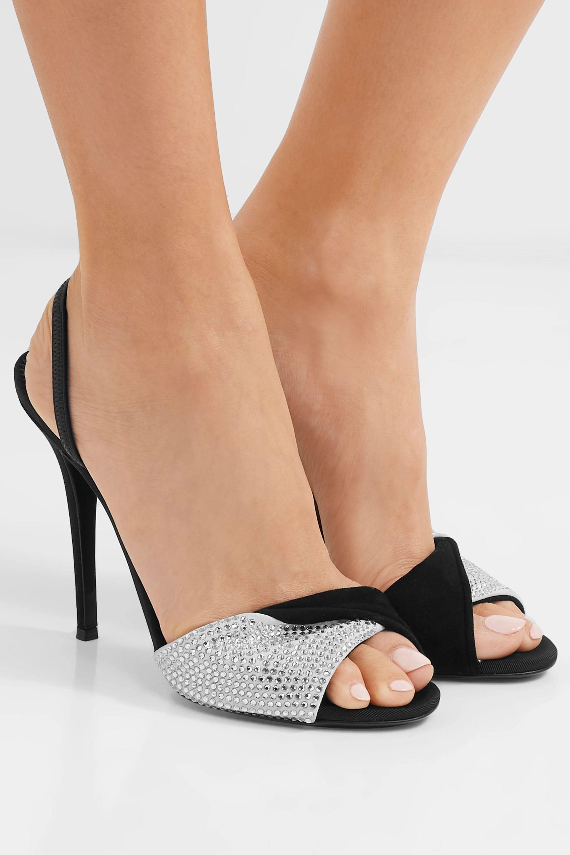 Giuseppe Zanotti Alien crystal-embellished suede slingback sandals