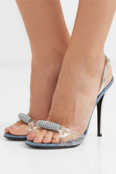 Giuseppe Zanotti Sandals Alien crystal-embellished metalic leather, denim and PVC sandals