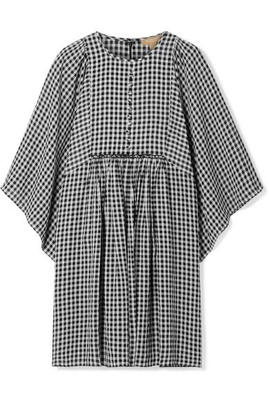 Gingham Seersucker Georgette Dress in Black