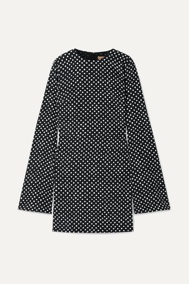 Michael Kors Polka-Dot Silk-Crepe Mini Dress In Black
