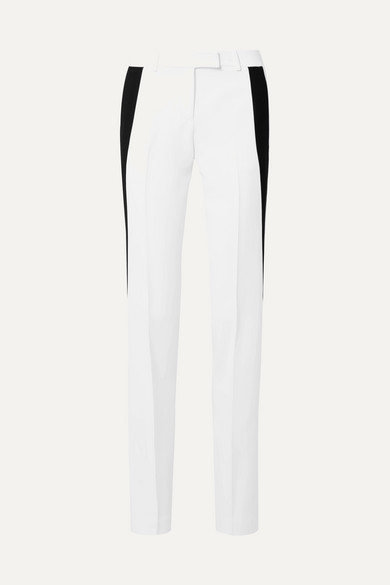 Side Stripe Double Crepe Sable Straight Leg Trousers in White