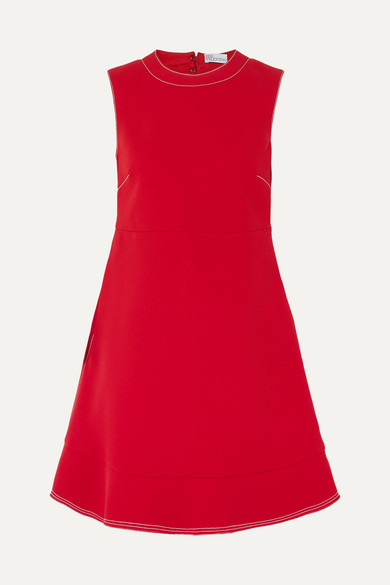 Redvalentino - Topstitched Bow Flared Hem Dress - Womens - Red