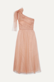 REDValentino One-shoulder pleated point d'esprit tulle midi dress