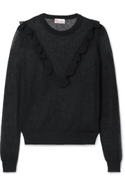 REDValentino Ruffle-trimmed cotton-blend sweater