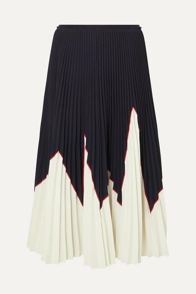 dda9ff9e30 REDValentino   Two-tone pleated stretch-piqué midi skirt   NET-A-PORTER.COM