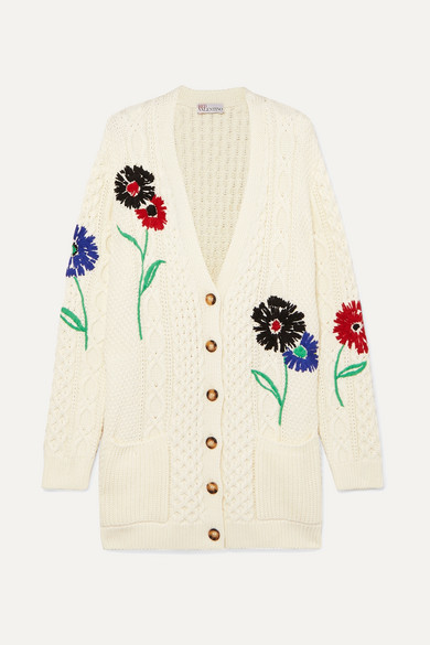 c6f88df3e4 Embroidered cable-knit cotton cardigan
