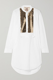 Figue Thalie sequined-paneled cotton-voile tunic