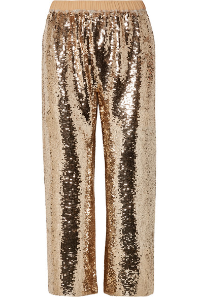 FIGUE   Figue - Verushka Cropped Sequined Tulle Pants - Gold   Goxip