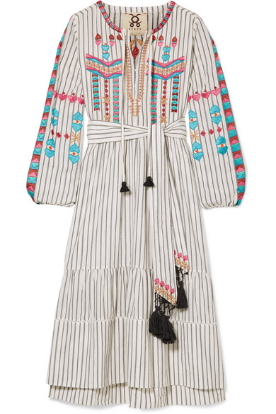 Figue NOOR TASSLED EMBROIDERED COTTON-VOILE DRESS