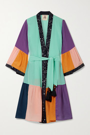 Figue Nisha sequin-embellished color-block silk crepe de chine kimono
