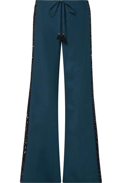 FIGUE | Figue - Estela Sequin-embellished Silk Crepe De Chine Wide-leg Pants - Petrol | Goxip