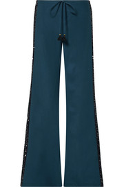 Figue Estela sequin-embellished silk crepe de chine wide-leg pants
