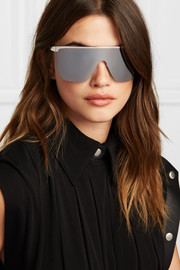D-frame silver-tone sunglasses
