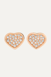 Happy Hearts 18-karat rose gold diamond earrings