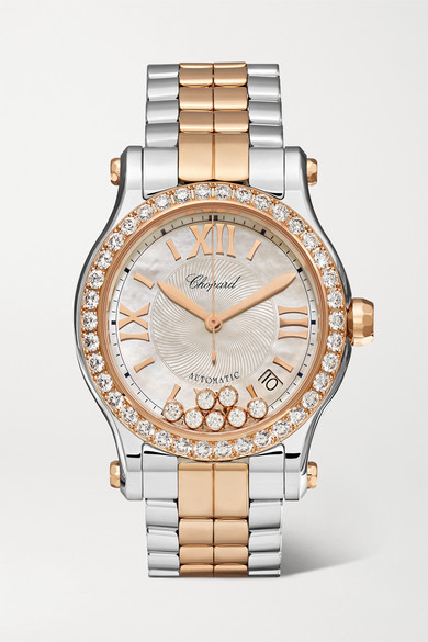 Happy Sport Automatic 36mm 18 karat rose gold, stainless steel, diamond and mother of pearl watch