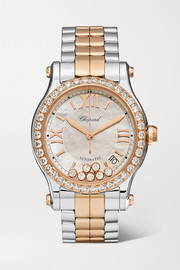 Chopard Happy Sport 36mm 18-karat rose gold, stainless steel, diamond and mother-of-pearl watch
