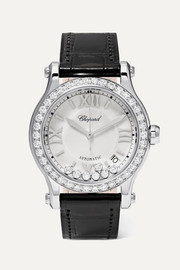 Happy Sport 36mm stainless steel, alligator and diamond watch