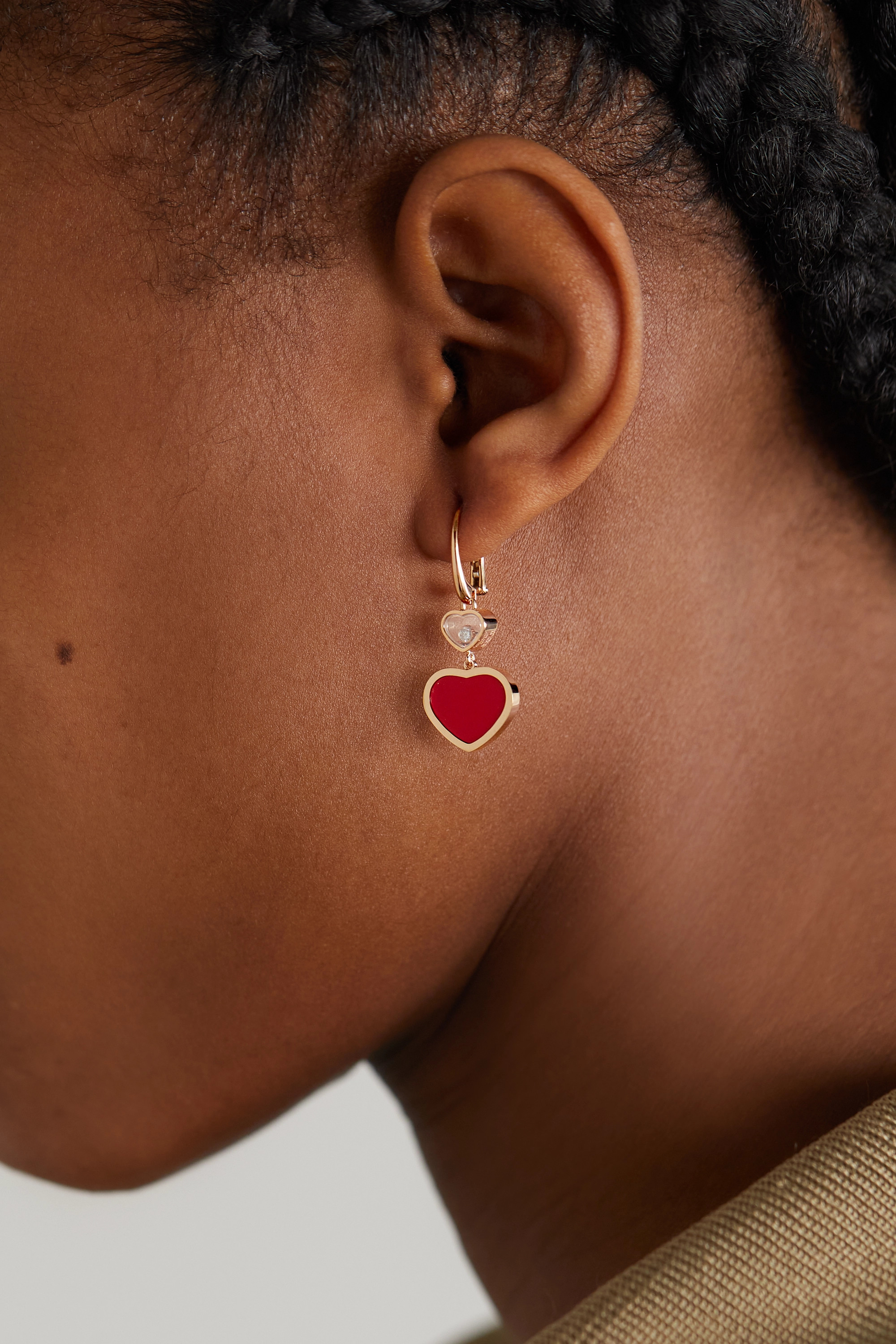 Chopard Happy Hearts 18-karat rose gold, diamond and red stone earrings