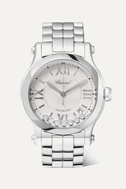 Happy Sport Automatic 36mm stainless steel and diamond watch