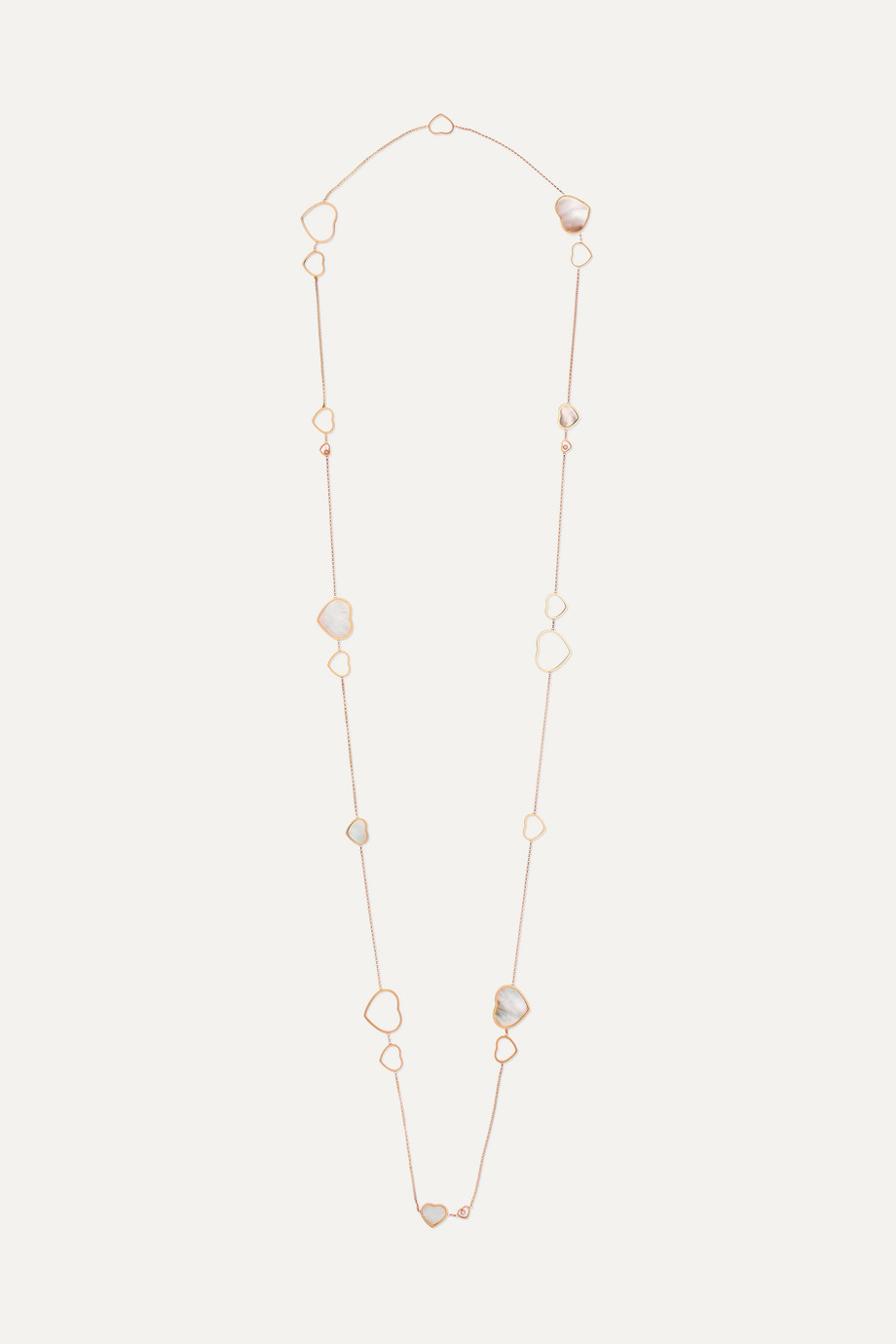 Chopard Happy Hearts 18-karat rose gold, diamond and mother-of-pearl necklace