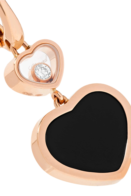 Chopard Happy Hearts 18-karat rose gold, diamond and onyx earrings