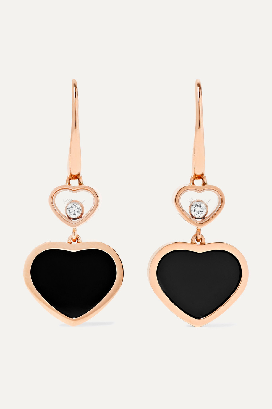Chopard Boucles d'oreilles en or rose 18 carats, diamants et onyx Happy Hearts