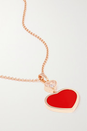 Happy Hearts 18-karat rose gold, diamond and red stone necklace