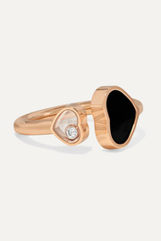 Bague en or rose 18 carats, diamant et onyx Happy Hearts