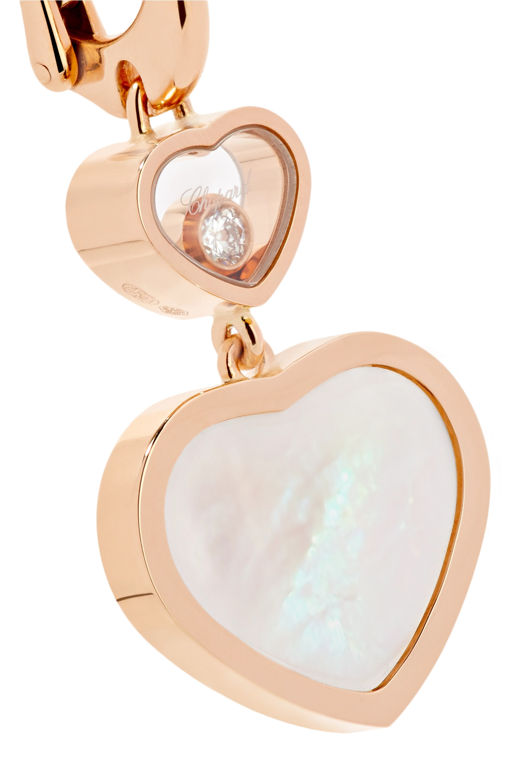 Chopard Happy Hearts 18-karat rose gold, diamond and mother-of-pearl earrings