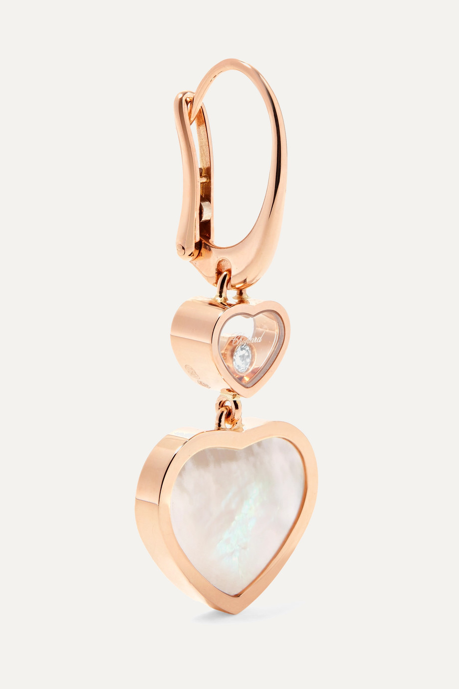 Chopard Boucles d'oreilles en or rose 18 carats, diamants et nacre Happy Hearts