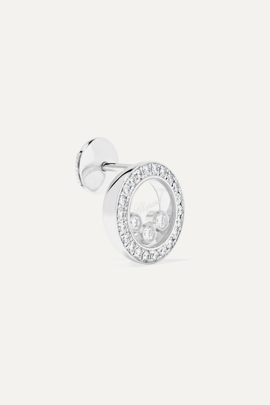 Chopard Happy Diamonds 18-karat white gold diamond earrings